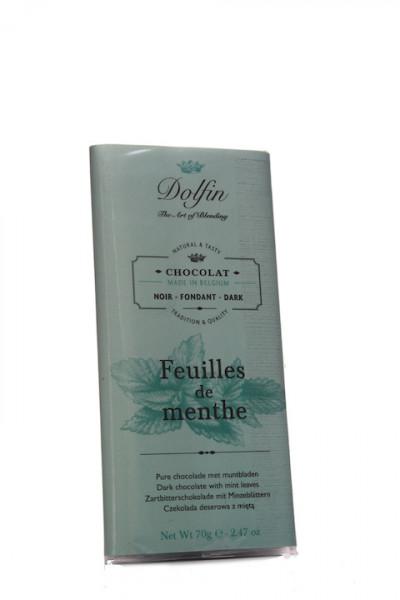 Dolfin Zartbitterschokolade mit Minzeblättern