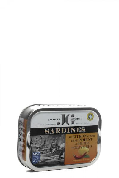 Jacques Gonidec Sardinen mit kandierter Zitrone/Bio Olivenöl/Piment 115 gr.